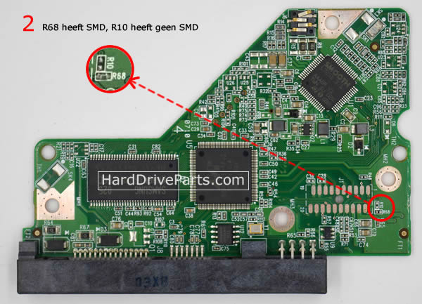 2060-701640-002 REV A / REV P1 / REV P2 WD Harde Schijf PCB Printplaat